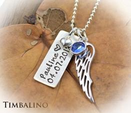 Namenskette Taufschmuck mit Geburtssteinen und Engelflügel -