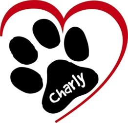 ***NEU*** Folienaufkleber/Sticker/Wandtattoo - Hunde Pfote mit Herz und Ihrem Wunschtext, Größen u. Farbauswahl -