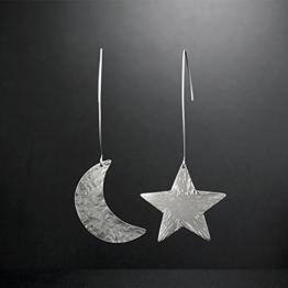 Nicht übereinstimmende Paar Mond und Sterne Ohrringe, 925 Sterling Silber Ohrhänger, baumeln Ohrringe für Frauen handgefertigt von Emmanuela -