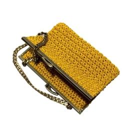 NINA - Handmade in Italy - Handtasche elegant. Kleine Kupplung. Gold. Evening gold clutch purse / coin wallet, golden vintage kiss clasp. -