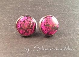 Ohrringe Stecker Edelstahl Blume Pink -