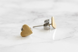 Ohrringe Stecker Messing Herz ca. 7x6,5mm Ohrstecker -