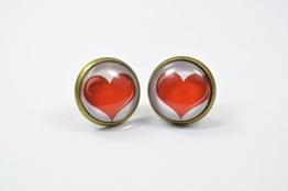 Ohrstecker Ohrringe Ohrschmuck Herz rot Liebe Valentinstag -