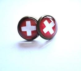 Ohrstecker Ohrringe Ohrschmuck Schweiz Flagge -