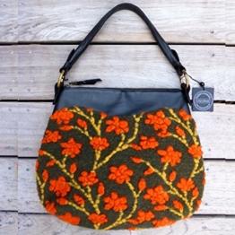 Orange Henkeltasche Handtasche Designer-Walk Nr 411 mit Echtlederhenkel. Einzelstück. Handgefertigt in Baden-Württemberg -