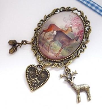 """ovale, sehr dekorative Trachtenbrosche """"Rehe"""", antik-bronzefarben -"""