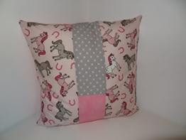 Patchwork Kissen Babyzimmer/ Kinderzimmer Pferde (40x40 cm) -
