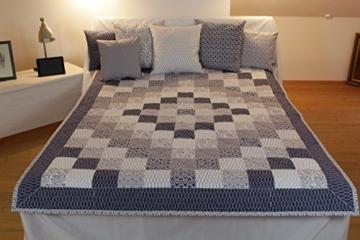 "Patchwork-Quilt-Set ""Isola corralina"" - Decke 220 x 180 cm & 3 Kissen 40 x 40 cm & 3 Kissen 50 x 50 cm -"