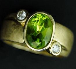 Peridot Ring Brillant 585 Gelbgold -