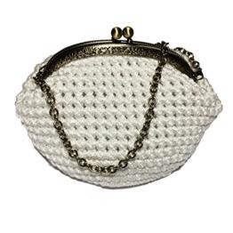 PERLA - Handmade in Italy - Handtasche elegant. Kleine Kupplung. Weiß. Evening white clutch purse / coin wallet, bronze kiss clasp. -