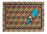 Platzdeckchen Tischset Platzset mit Serviettenring Gobelin Multicolor mit blau 45 x 33 cm -