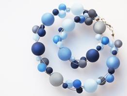 Polariskette blau grau Collier Kette Blautöne -