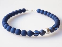 Polariskette dunkelblau mit Wisilvaperle Kette Collier blau -
