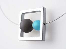 Polariskette grau türkis blau anthrazit Kette geometrisch -
