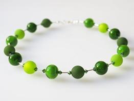 Polariskette mit Muranoglas grün Kette Collier mit Swarovski® Kristallen -
