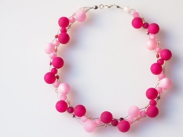 Polariskette rosa pink rose Kette Collier Statementkette -