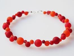 Polariskette rot dunkelrot flame Kette Collier Perlenkette -