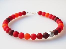 Polariskette rot orange flame Kette Collier mit Wisilvaperle -