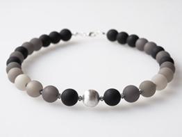 Polariskette schwarz grau Collier mit Swarovski® Kristallen -