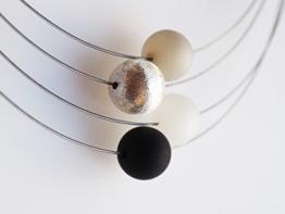 Polariskette schwarz weiß Kette grau silber -