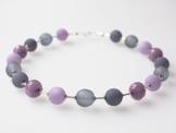 Polariskette violett grau mit Muranoglas und böhmischen Glasperlen Kette Collier Unikat -
