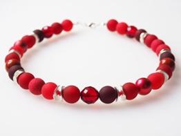 Polariskette weinrot rot Kette Collier mit Schaumkoralle und Swarovski® Kristallen -