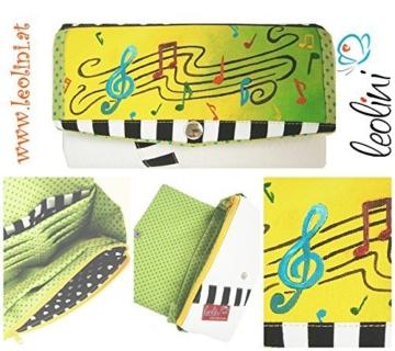 Portemonnaie Geldbeutel Brieftasche Geldbörse Notenschlüssel Noten - handmade, Unikat von Leolini -