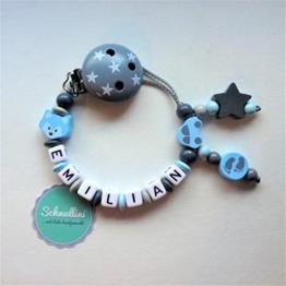 Premium Schnullerkette mit Namen Fuchs Auto Stern Gravur Geschenk Taufe Geburt individuell | Junge blau Namenskette -