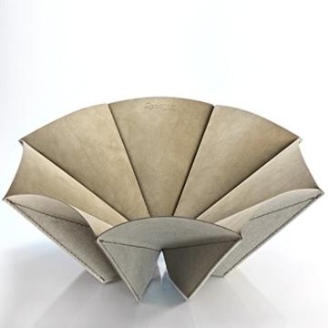 Regenesi o-Re-gami Cup taubengraus in wiederverwertetes Leder gefertigt von Hand in Italien -