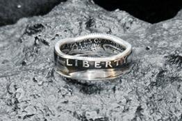 Ring aus Münze, 900er Silber - Double Sided coin ring - Größe 60 (19.1), handgeschmiedetes Unikat -