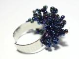 Ring Fingerring Perlenring blau lila Glasperlenring handgefädelt -