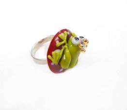 Ring, grössenverstellbar - handgefertigtes Unikat aus Glas Ringschiene aus 925 Sterlingsilber massiv -
