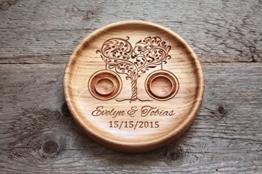 Ringkissen aus Eiche mit gravierten Namen und Datum, Ringschale ür die Hochzeit, Ringträger für die Hochzeit Baum der Liebe -