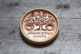 """Ringschale aus Holz mit gravierten Namen und Datum, Ringkissen für die Hochzeit, Ringträger für die Hochzeit """"Baum des Lebens"""" -"""