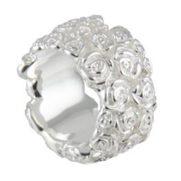Rosen Ring 17 mm breit (Sterlingsilber 925) Rosenring, massive Qualität -