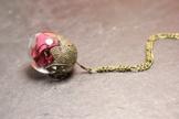 Rosenblätter Kette - Rose Borosilikatglas & echte Blütenblätter -