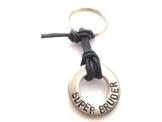 Schlüsselanhänger aus Edelstahl, 1 Ring, an Lederband - Farbwahl Wunschbeschriftung wie Name, Datum, AKTION! -