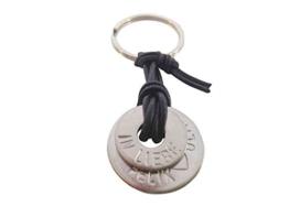 Schlüsselanhänger aus Edelstahl, 2 breite Ringe, an Lederband - Farbwahl, mit Wunschbeschriftung wie Name, Datum. AKTION! -