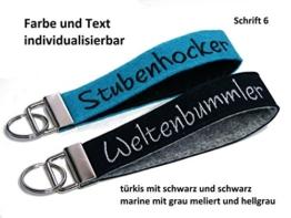 Schlüsselanhänger aus Filz mit Bestickung von individuellem Text z.B. Name Schlüsselband -