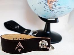 Schlüsselanhänger mit Koordinaten -