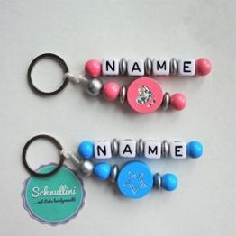 Schlüsselanhänger mit Namen Gravur Kindergartentasche Schultasche Rucksack Stern Herz Schlüsselring | Junge Blau Mädchen Rosa Namenskette -