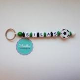 Schlüsselanhänger mit Namen Gravur Motivperle Fußball Kindergartentasche Schultasche Rucksack Schlüsselring Vereinsfarben grün schwarz weiß | Junge Mädchen Namenskette -