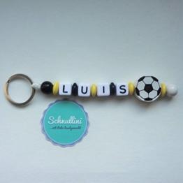 Schlüsselanhänger mit Namen Gravur Motivperle Fußball Kindergartentasche Schultasche Rucksack Schlüsselring Vereinsfarben schwarz gelb | Junge Mädchen Namenskette -