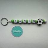 Schlüsselanhänger mit Namen Gravur Motivperle Fußball Kindergartentasche Schultasche Rucksack Schlüsselring Vereinsfarben grün weiß | Junge Mädchen Namenskette -