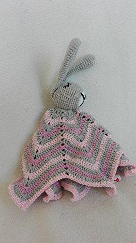 Schnuffeltuch Schlaf-gut-Hase - rosa / lila / grau - BIO Wolle -