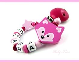 Schnullerkette Fuchs Pink mit Namen -