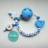 Schnullerkette mit Namen Herz Kleines Wunder der Welt Gravur Geschenk Taufe Geburt individuell Stern | Junge blau Namenskette -