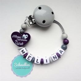 Schnullerkette mit Namen Herz Kleines Wunder der Welt Gravur Geschenk Taufe Geburt individuell Stern   Mädchen Lila Namenskette -