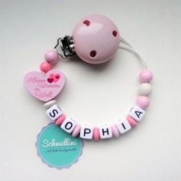 Schnullerkette mit Namen Herz Kleines Wunder der Welt Gravur Geschenk Taufe Geburt individuell | Mädchen rosa Namenskette -