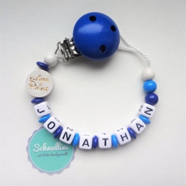 Schnullerkette mit Namen Kleiner Prinz Gravur Geschenk Taufe Geburt individuell   Junge blau Namenskette -